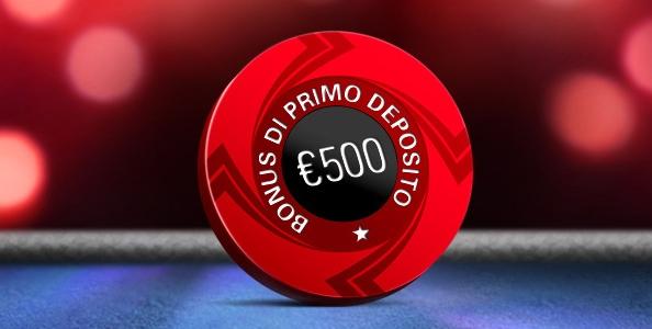 Su PokerStars un bonus sul primo deposito del 100% fino ad un massimo di 500€!