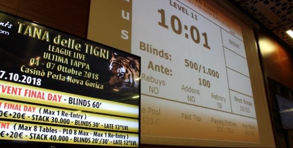 Tana delle Tigri – 352 entries al Day 1 di Nova Gorica! Carlo Palazzi comanda nel count