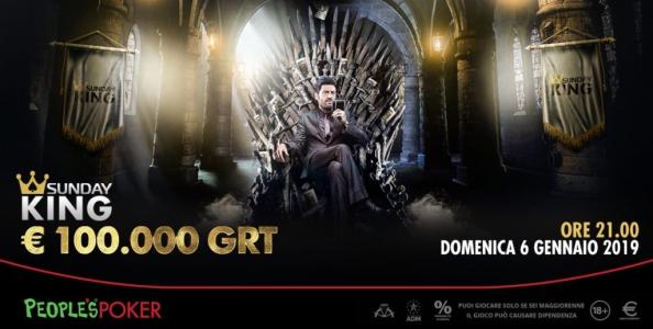 Il 2019 inizia col botto su People's: il 6 gennaio torna il Sunday KING con 100.000€ garantiti