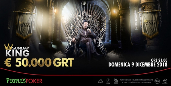 Questa domenica su People's Poker torna il Sunday King 50.000€ grt!
