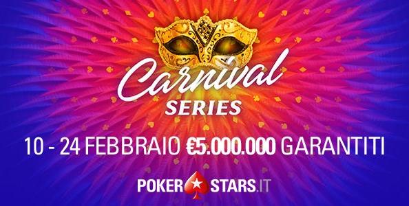 Dal 10 al 25 febbraio arrivano le Carnival Series: su PokerStars 110 eventi per cinque milioni garantiti!