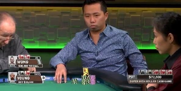 Sick fold di Wong al SHR Cash Game: passa full d'assi al river contro Young!