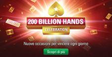 PokerStars è pronta per festeggiare 200 miliardi di mani! Ecco tutte le ricompense per i giocatori