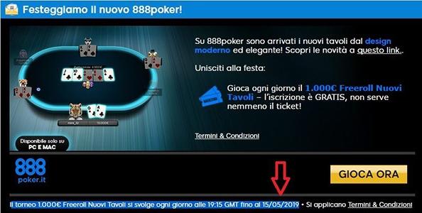 Freeroll Nuovi Tavoli su 888poker: fino al 15 maggio in palio 1.000€ al giorno!
