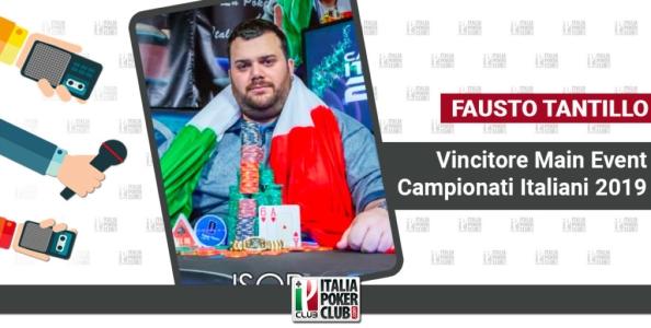 """Fausto Tantillo è il nuovo campione italiano delle ISOP: """"Gran field al Main Event, ma mi sentivo confident"""""""