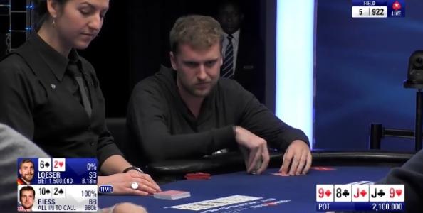 Lo spettacolare call di Riess con 10-High al tavolo finale EPT: follia o rischio calcolato?