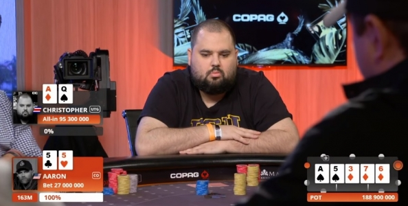 Che show alle Bahamas! Hunichen trasforma A-Q in bluff al final table contro il chip leader