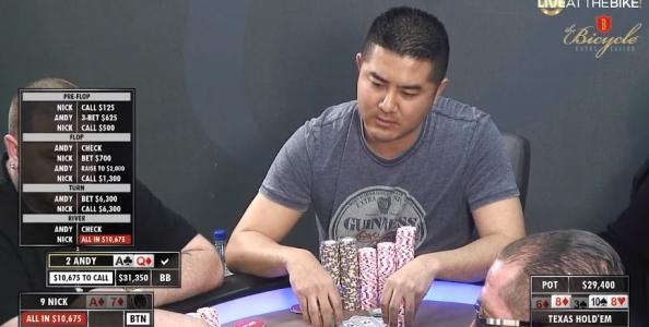 Asian Andy colpisce ancora! Godetevi questa mano pazzesca con un doppio Ace-High