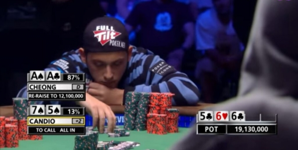 Le stime di Filippo Candio nella mano contro Cheong del Main Event WSOP 2010