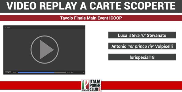Video-replay a carte scoperte: il tavolo finale del Main Event ICOOP vinto da Lorispecial18