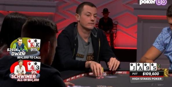 High Stakes Poker: Tom Dwan folda coppia di re col punto migliore