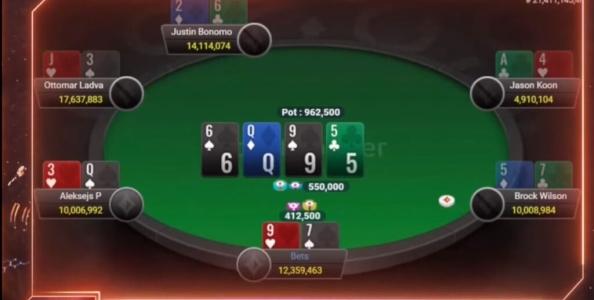 PartyPoker Super High Roller: Laszlo vs Ponakovs, che action al river