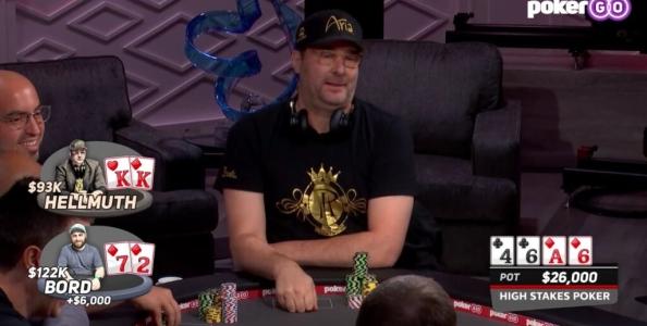 High Stakes Poker: Phil Hellmuth folda coppia di Re, James Bord gli mostra il bluff con 7-2s!