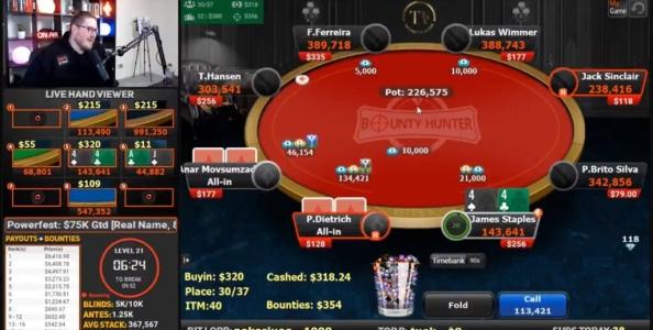 Quando la fortuna arriva in diretta streaming con Jaime Staples su partypoker
