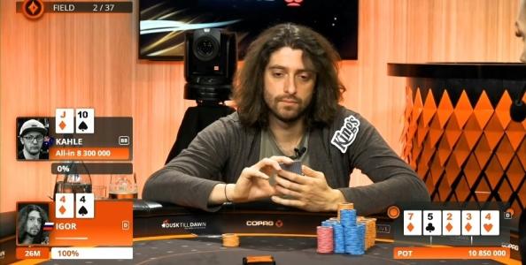 Jonathan Little analizza il fold di Igor Kurganov con set contro il bluff di Kahle Burns