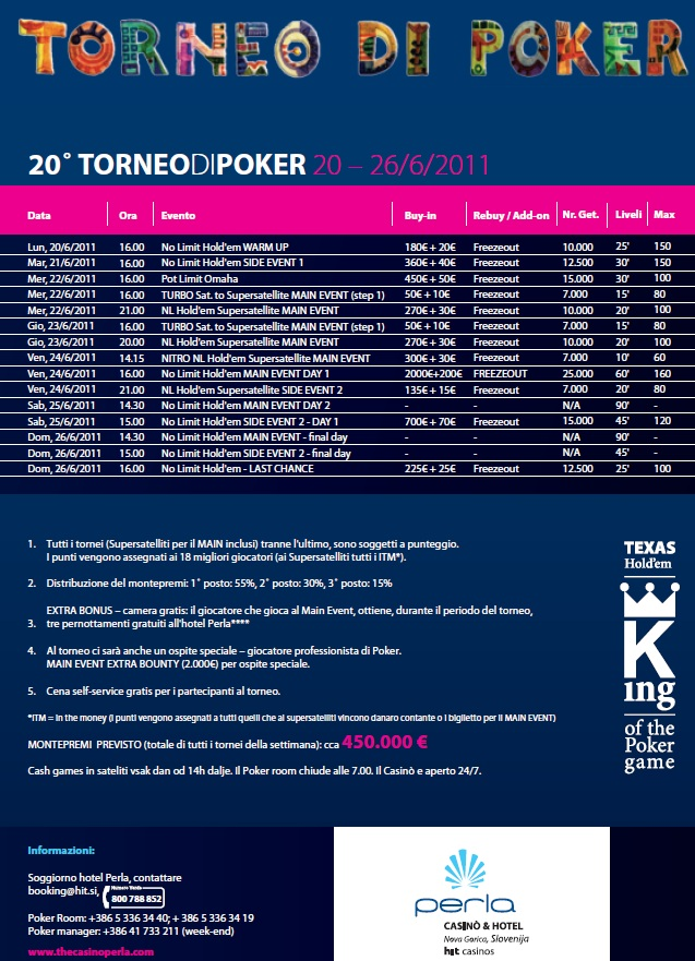 Programma tornei poker club