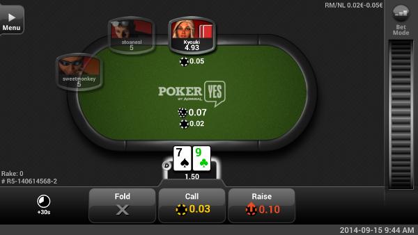 Screenshot tavolo Pokeryes