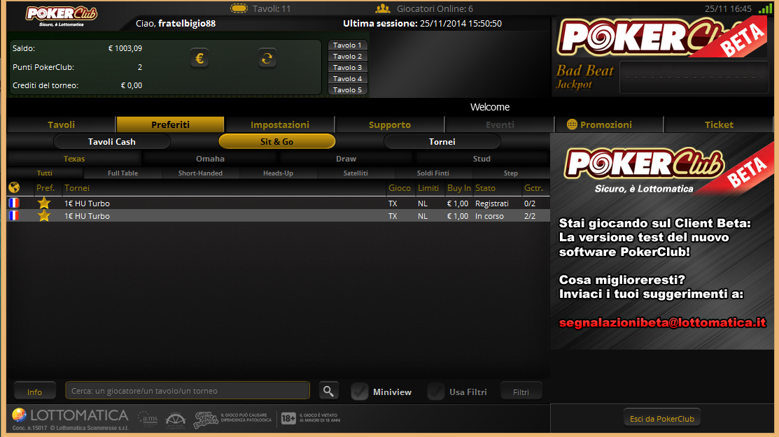 Posti preferiti beta pokerclub