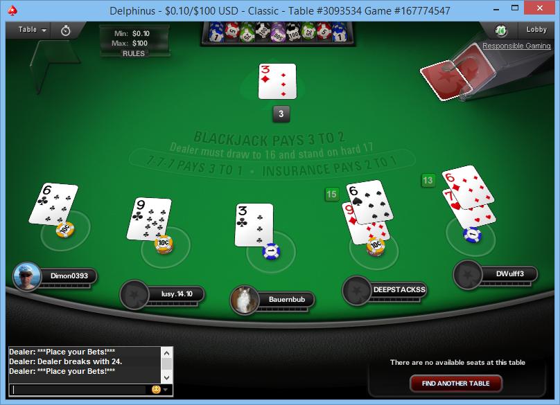 Uno tavolo da blackjack su Pokerstars.com