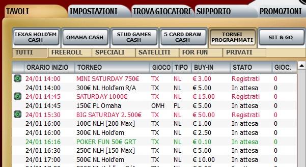 poker club lottomatica sabato