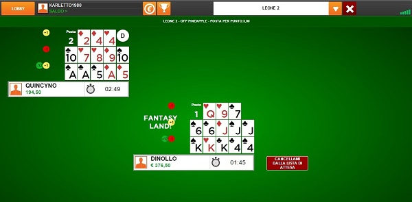 open face poker tavolo singolo