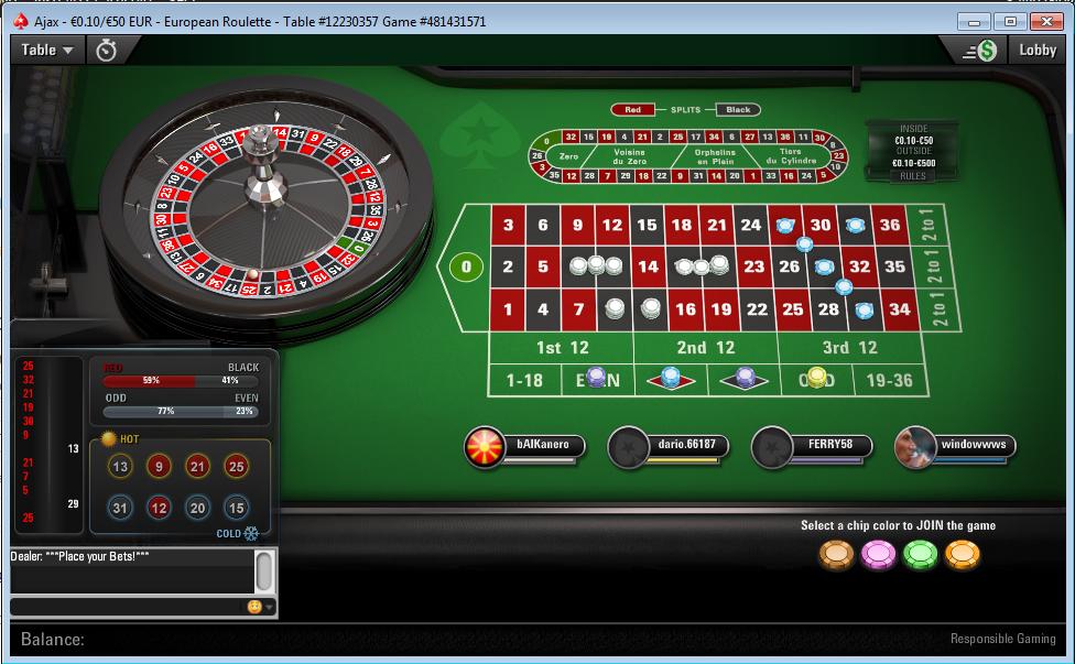 roulette tavolo pokerstars