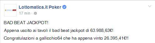 badbeatjackpot lottomatica.it poker