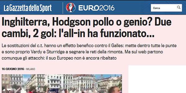 """""""L'all-in di Hodgson ha funzionato"""" Per Euro2016 il"""