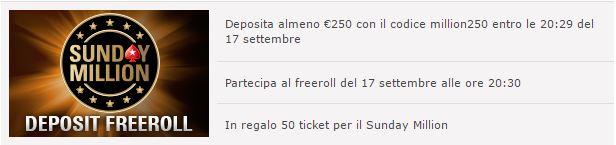 sunday million deposit freeroll pokerstars