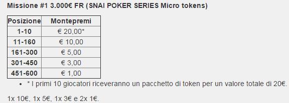 montepremi freeroll missione settembre snai poker