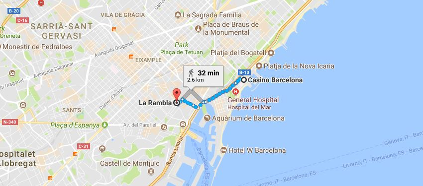 mappa casino rambla
