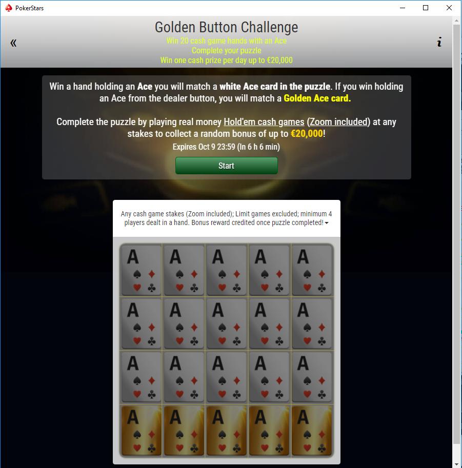 golden button challenge schermata sfida