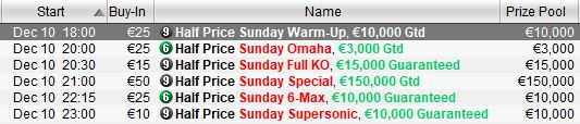 half price sunday christmas celebrations pokerstars programma