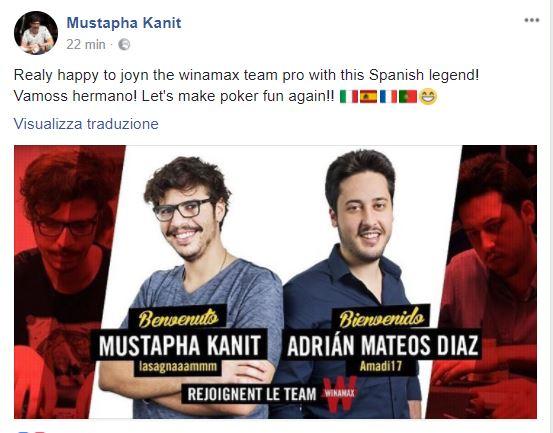 mustapha kanit status FB pro winamax