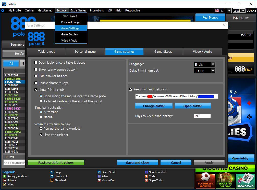impostare-holdem-manager-poker-tracker-888poker