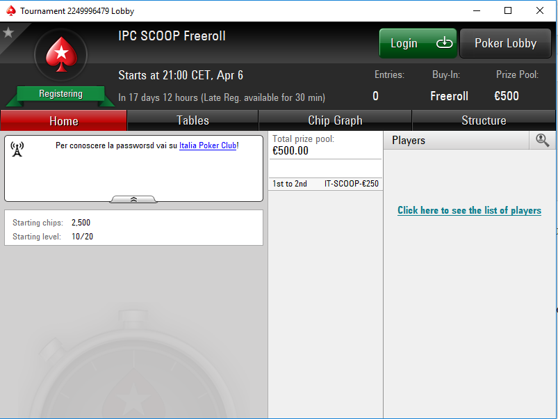 IPC scoop freeroll lobby