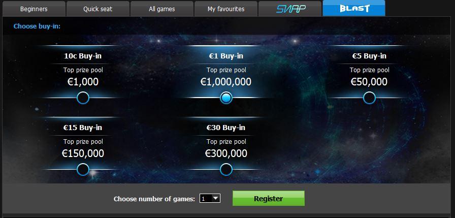 888poker lobby blast un milione