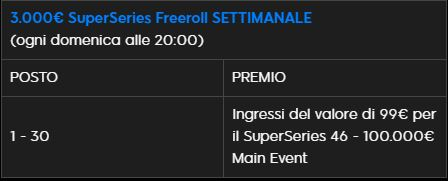 freeroll settimanale super series 888poker