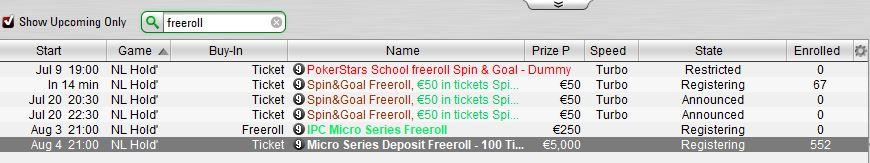 ipc micro series freeroll lobby