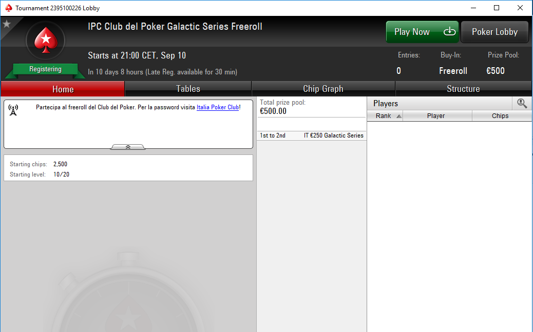 ipc club del poker galactic series freeroll