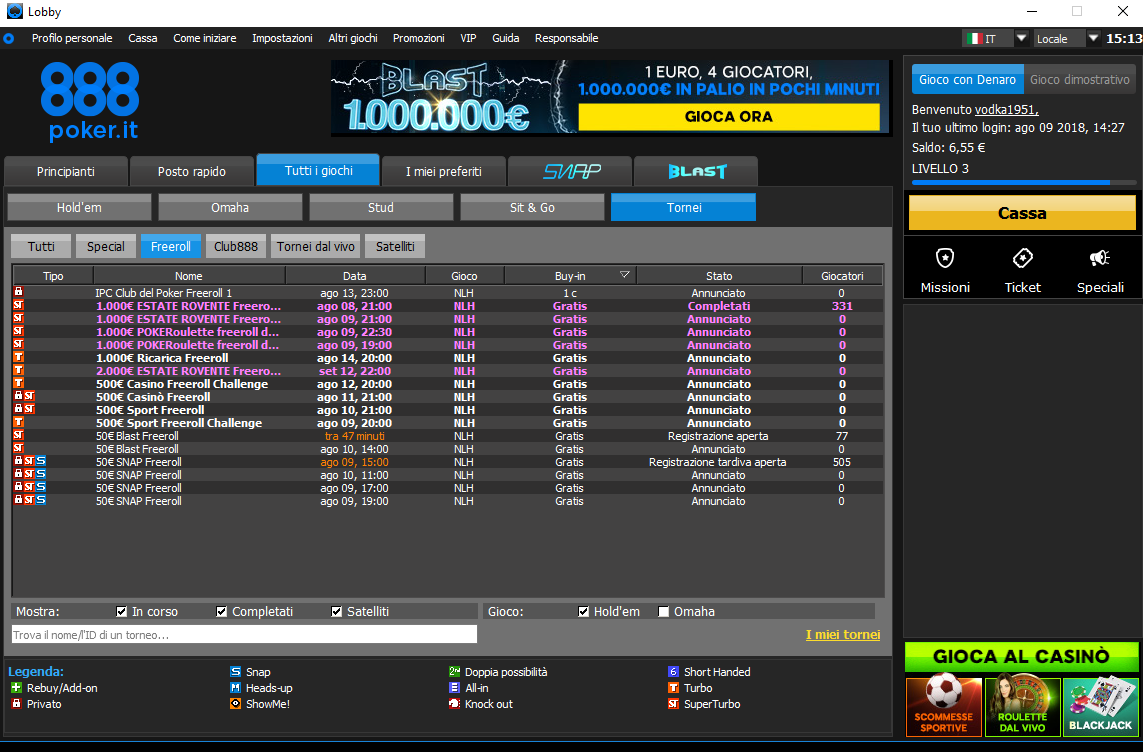lobby 888poker ipc club freeroll