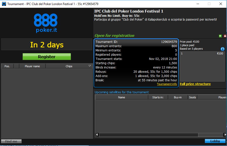 ipc club del poker london festival 1 lobby