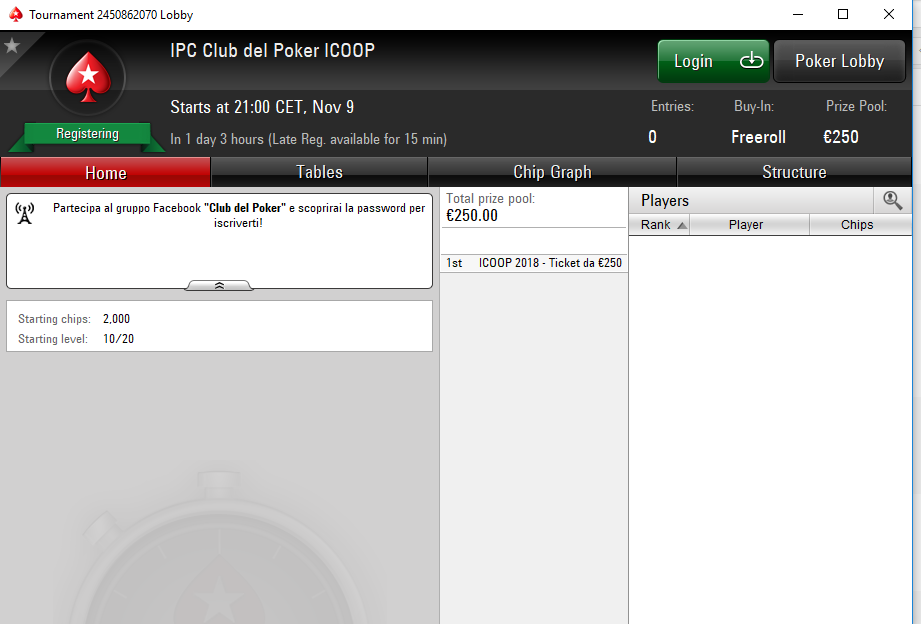 password freeroll ipc club del poker icoop lobby
