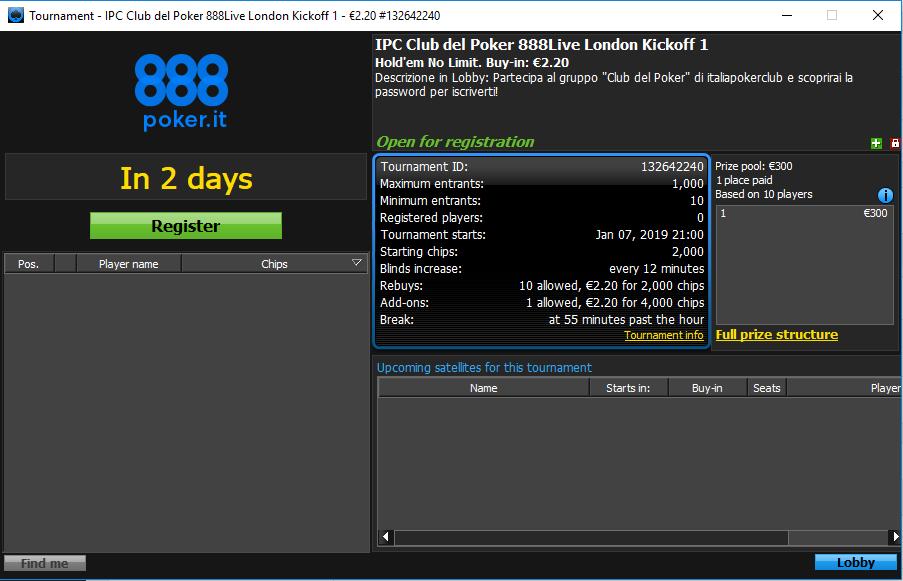 lobby ipc club del poker 888live london kickoff