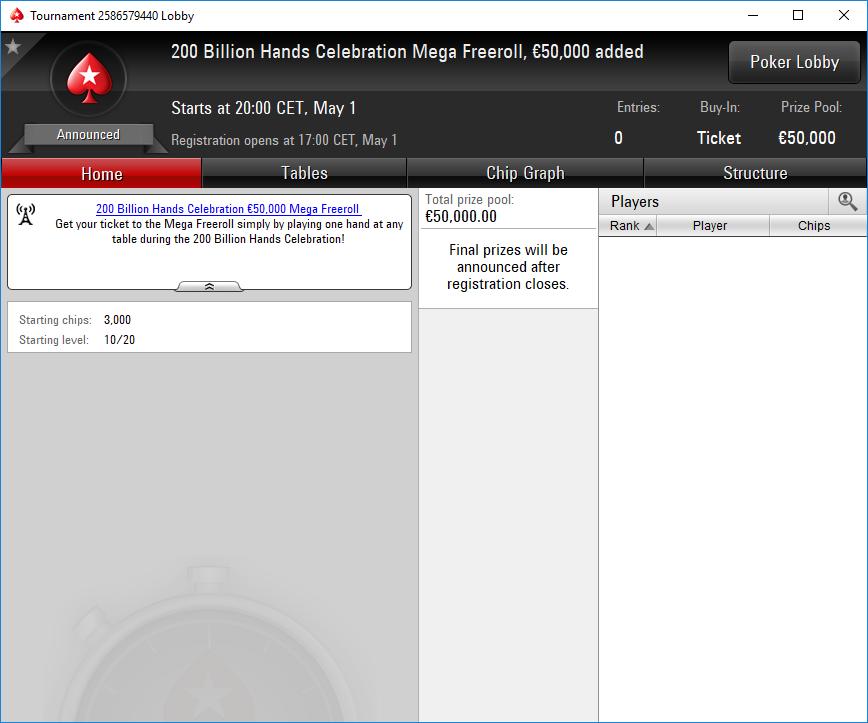 lobby mega freeroll 200 billion hands pokerstars