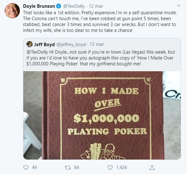 doyle brunson autoquarantena tweet