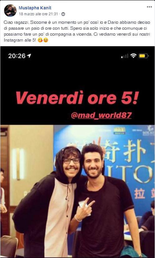 mustapha kanit diretta instagram dario sammartino