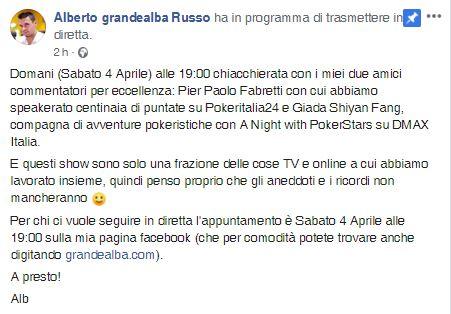 alberto grandealba russo annuncio diretta facebook giada fang pier fabretti