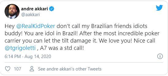 tweet akkari negreanu contro i giocatori brasiliani