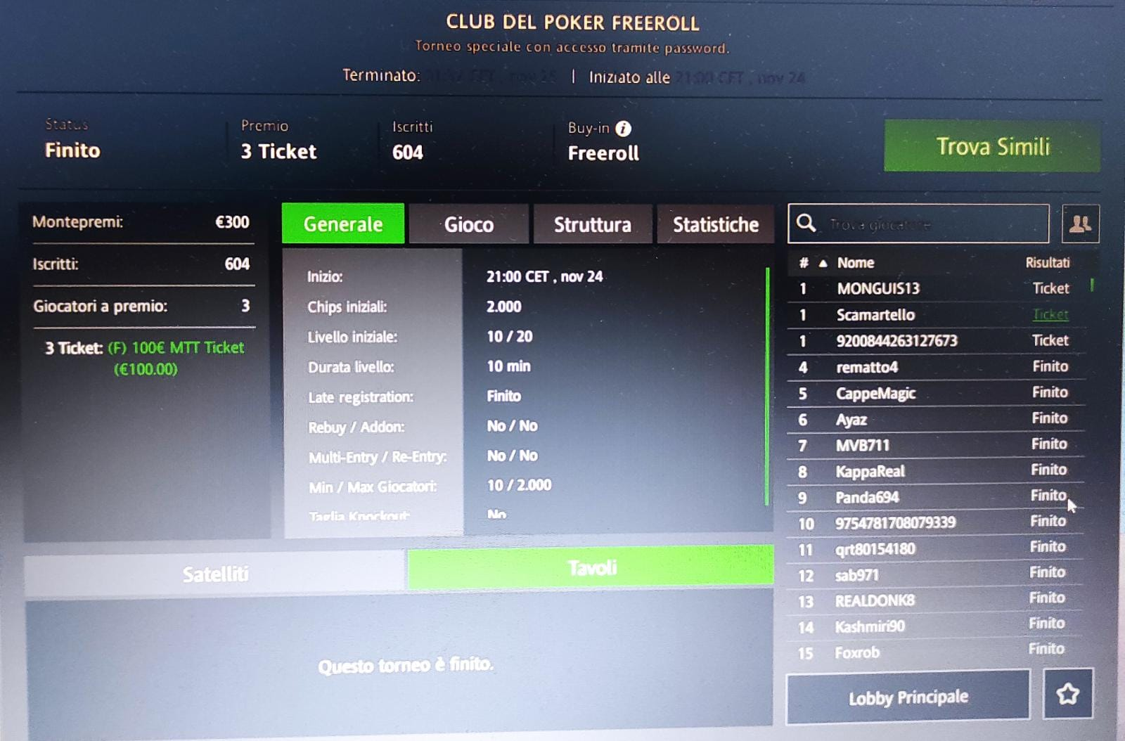 francesco scamardella vince ticket freeroll club del poker sisal